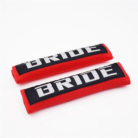 BRIDE Racing JDM Seat Belt Shoulder Pads Black/Red - Top JDM Store