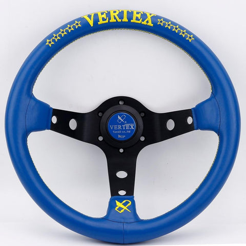 Vertex 10 Stars Blue Leather Sport JDM Steering Wheel Embroidered 13inch