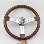 W-Power Steering Wheel Wood Grain Classic Flat 14""