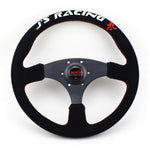 "J Racing Steering Wheel Suede Flat 14"" Red Stitch"
