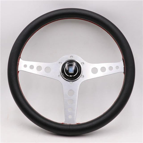 Silver Lightweight ND 14inch Real Leather Steering Wheel - Top JDM Store