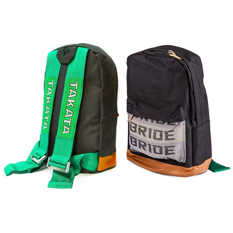 Takata Backpack Green Strap Leather Bottom - Top JDM Store