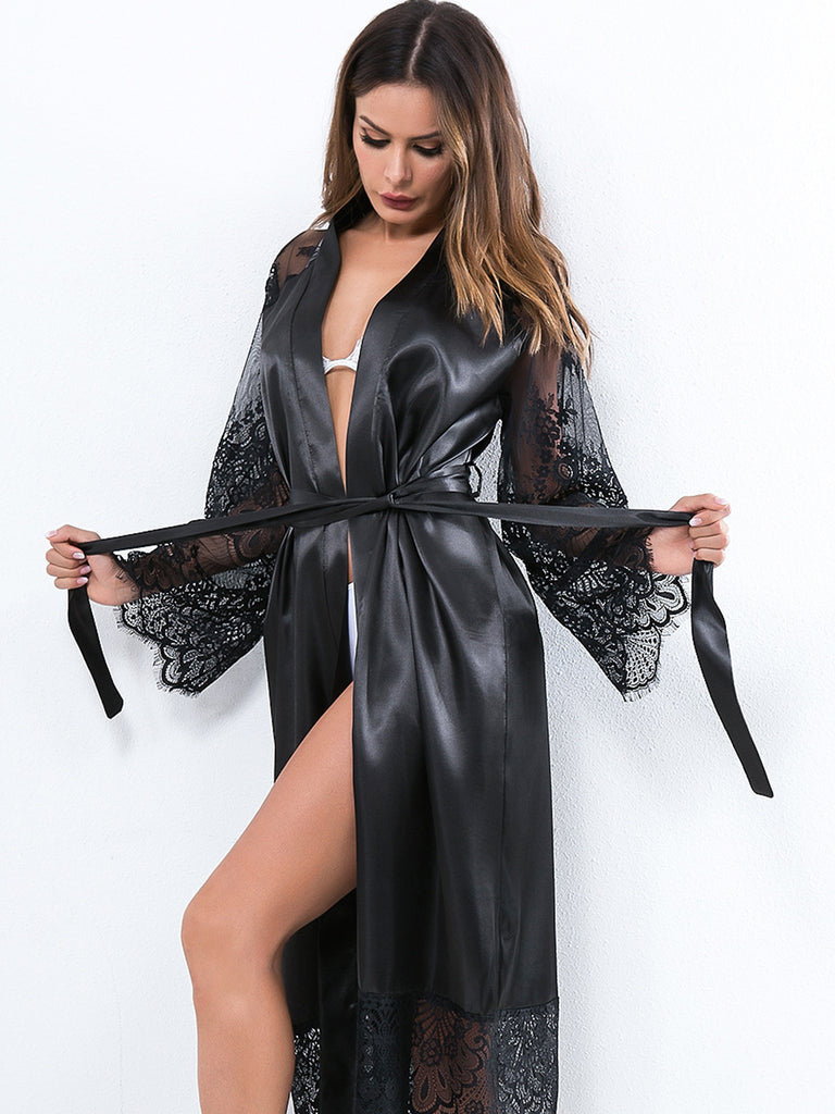 Elle Satin Long Lace Sleeve Robe