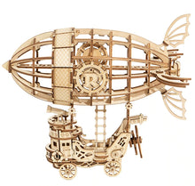 Load image into Gallery viewer, Steampunk Airship 3-D Wood Puzzle Kit