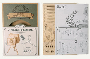 Vintage Camera Storage Box 3-D Wood Puzzle Kit