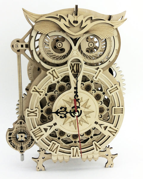 Steampunk Owl Wood Pendulum Clock Kit