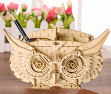 Load image into Gallery viewer, Owl Storage Box 3-D Wood Puzzle Kit