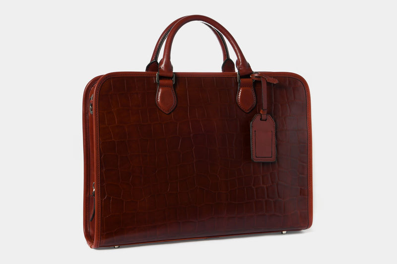 Briefcase with Croc Finish
