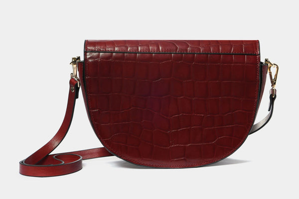 Shoulder Bag with Croc Finish