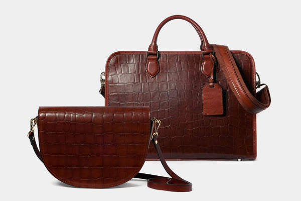Briefcase and shoulder bag set with Croc Finish