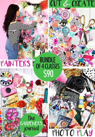 NEW! bundle of 4 classes: painter's bliss, cut & create, the gardener's journal, photo play