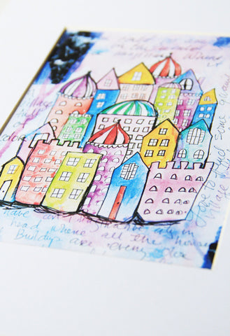 sketchbook city 8x10 matted print