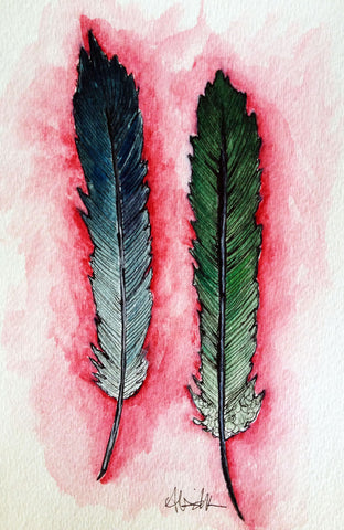 two feather original watercolor painting