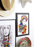 wavy hair and beads art prints