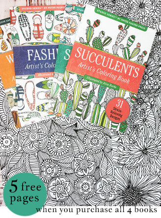 all 4 portable coloring books (get a free 5 page coloring download)