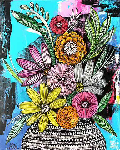 all kinds of messy flowers art print
