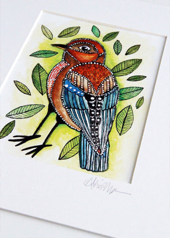 little bird with leaves 8x10 matted print