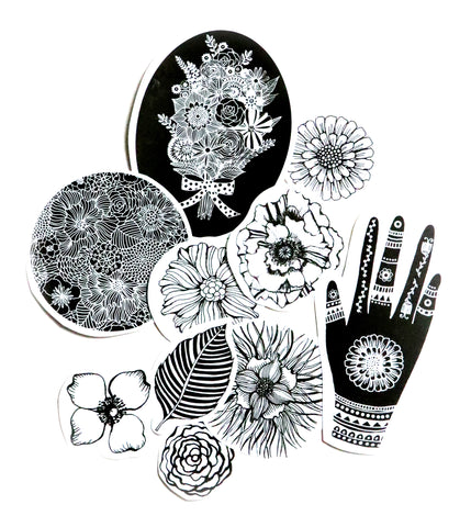 flowers paper sticker pack