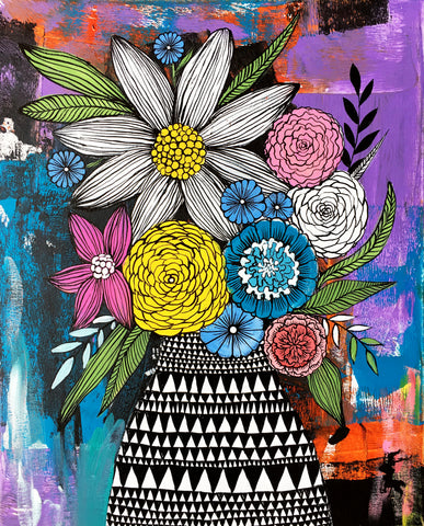 purple and colorful messy flowers art print