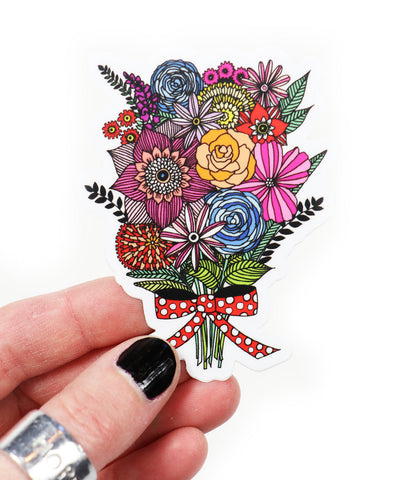 bouquet and bow vinyl sticker