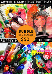 bundle of 4 classes: Artful Hands, Portrait Play, Supply Hack, Beautiful Birds