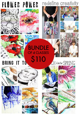 bundle of 4 classes: Sketch Into Spring, Flower Power, Bring it to Life, Redefine Creativity