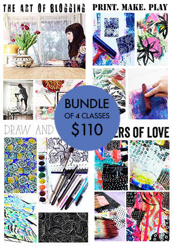 bundle of 4 classes: Layers of Love, Draw and Repeat, Print.Make.Play, The Art of Blogging