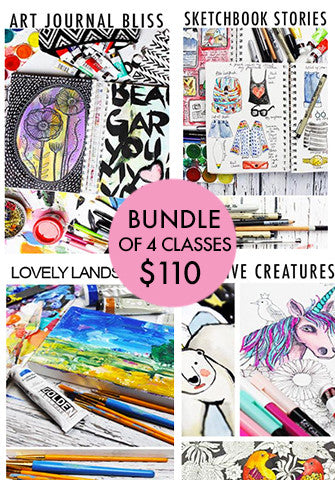 bundle of 4 classes: Art Journal Bliss, Lovely Landscapes, Sketchbook Stories, Creative Creatures