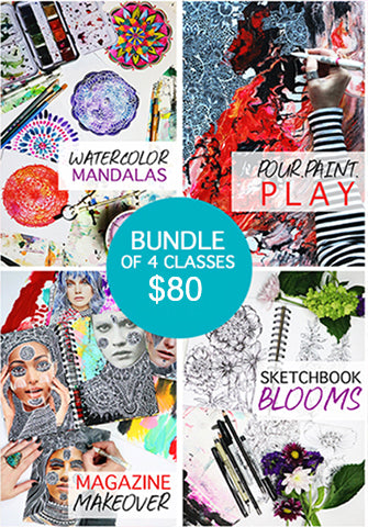 bundle of 4 classes- watercolor mandalas, pour.paint.play, magazine makeover, sketchbook blooms