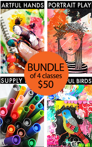 bundle of 4 classes: artful hands, portrait play, supply hack and beautiful birds