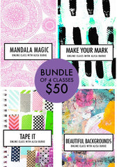 bundle of 4 classes: Mandala Magic, Make Your Mark, Tape It, Beautiful Backgrounds