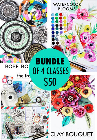 bundle of 4 classes: Rope Bowls, Watercolor Blooms, The Travelers Journal, Clay Bouquet