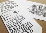 whimsical city- rubber stamp sheet