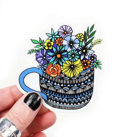 cup of flowers vinyl sticker