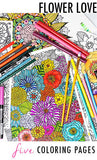 flower love 5 coloring pages