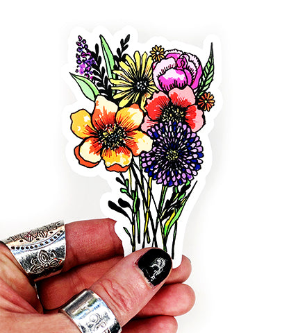 bouquet of flowers vinyl sticker
