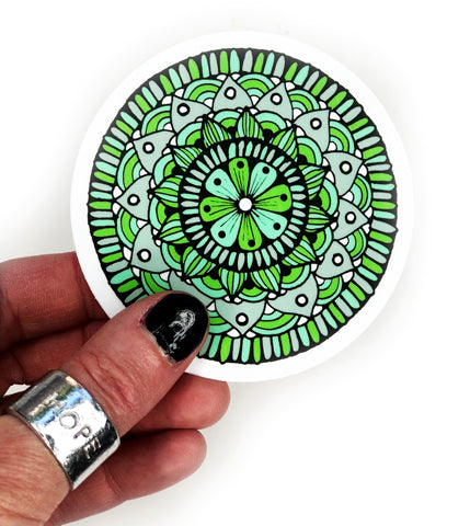 green mandala vinyl sticker