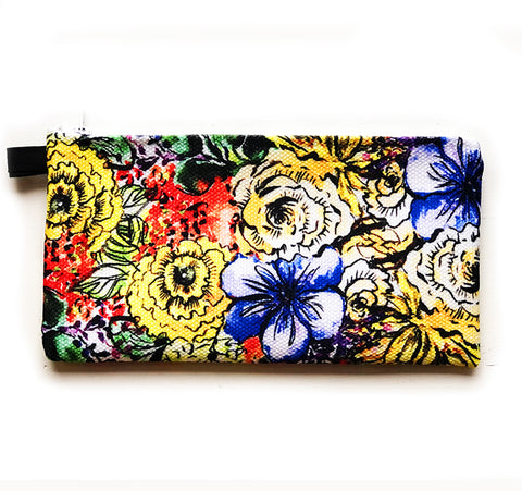 inky flowers pouch