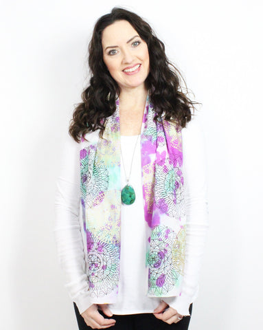 purple and turquoise mandala messy scarf- 10 available