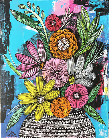 messy bouquet original painting 1