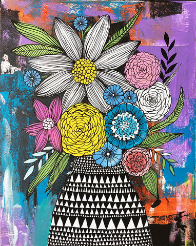 messy bouquet original painting 3