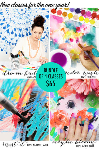NEW! bundle of 4 classes: Dream Builder, Watercolor Wash, Resist It, Acrylic Blooms