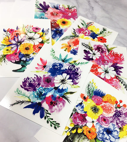 Set of 6 floral notecards