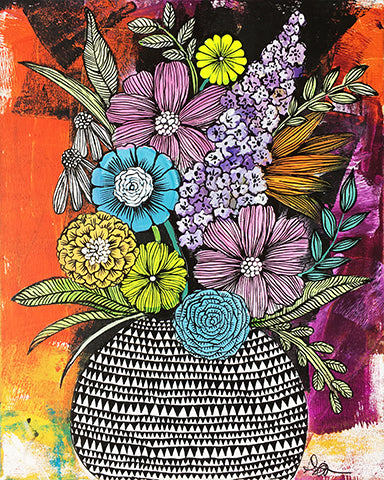red and colorful messy flowers art print