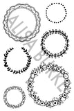 NEW! wreath- rubber stamp sheet