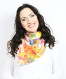 yellow & pink flowers messy scarf- 10 available