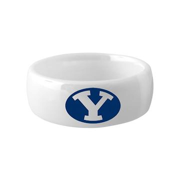 BYU Ring - White Diamond Ceramic