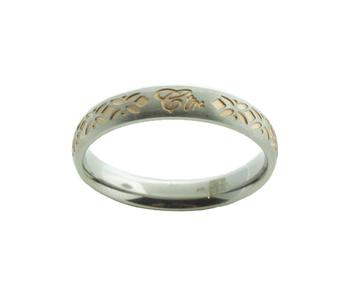 Solstice CTR Ring - stainless steel with rose gold inlay