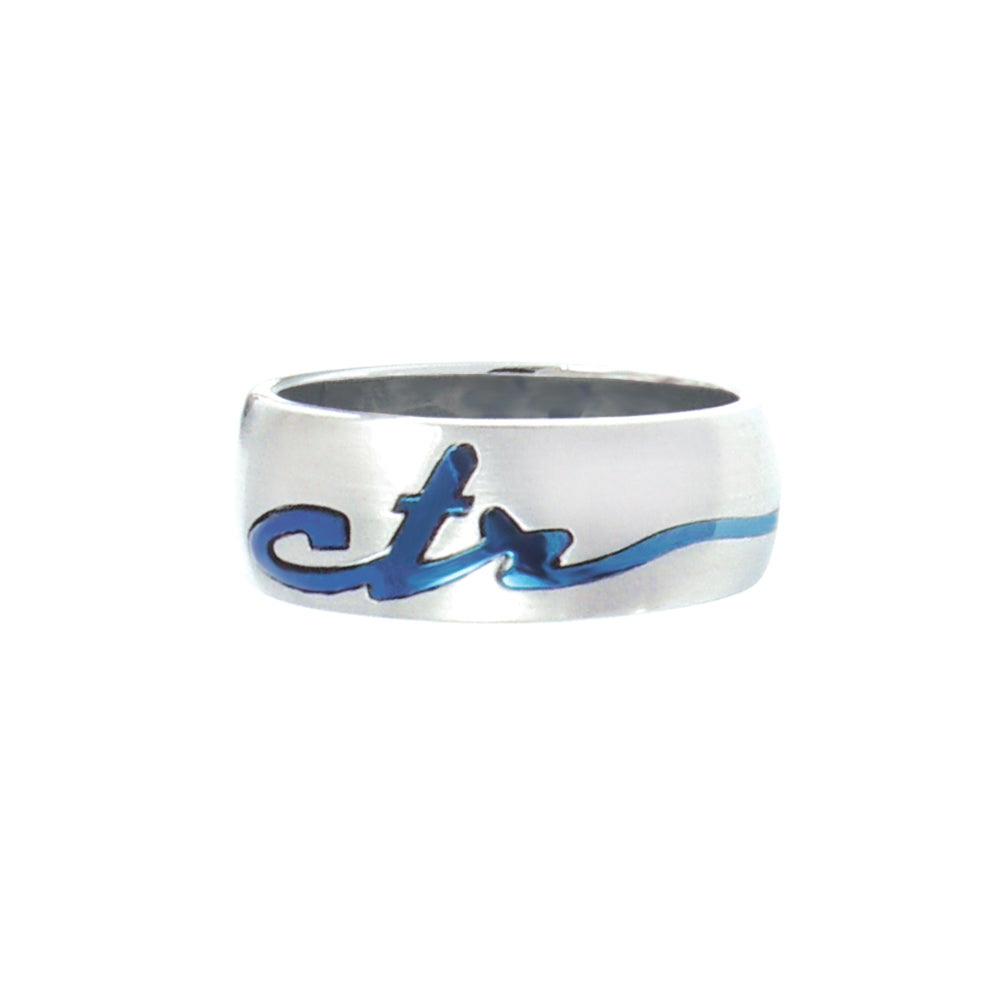 Signature CTR Ring - Blue - stainless steel