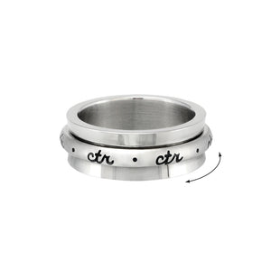 Spinner CTR Ring - Cursive  - stainless steel